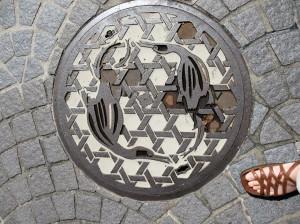 Manhole cover with cormorant design