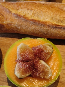 Marke bread, figs and melon prepared by  Maureen